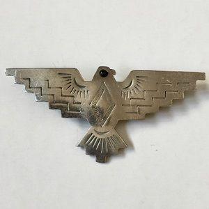 JJ Vintage Silver Thunderbird Brooch